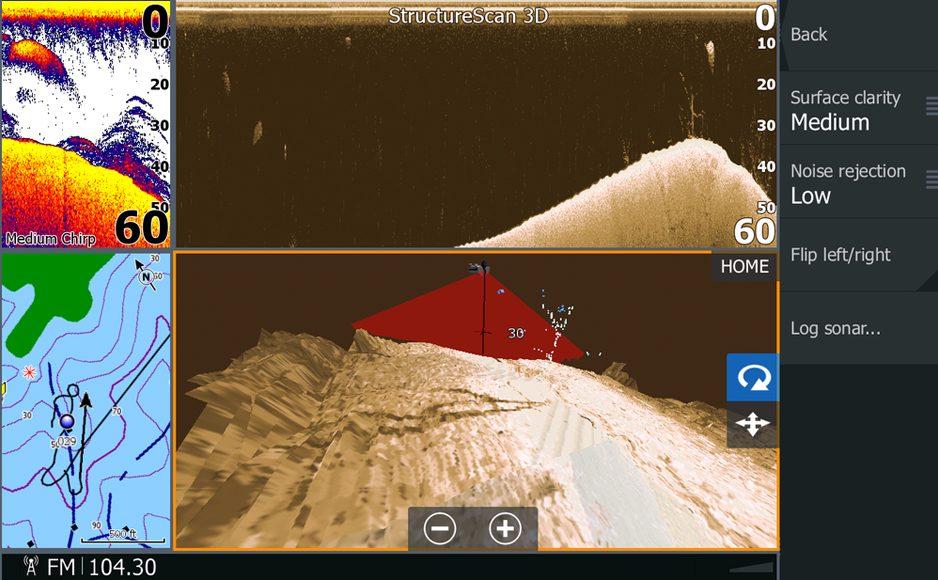 Lowrance-StrucutreScan-3D_4-panel-Split_Chart_Medium-Chirp_DownScan_3D_rocks_hump_SelectScan-Target-ID_StructureScan-3D-sidescan-imaging-technology-on-HDS-Gen3_13120-938x580