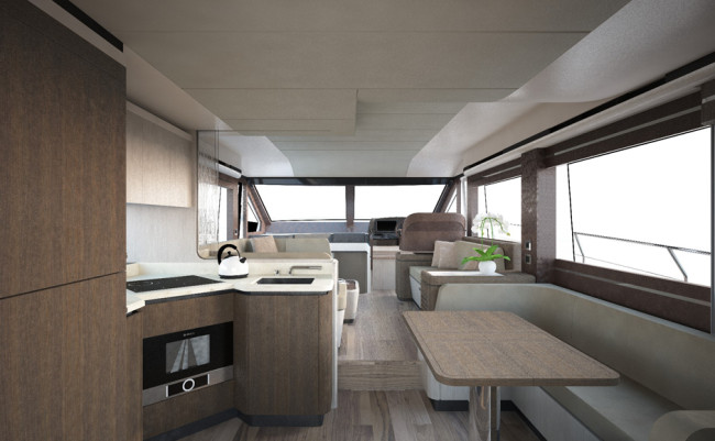 Absolute 58 Fly Dining Area and Galley B